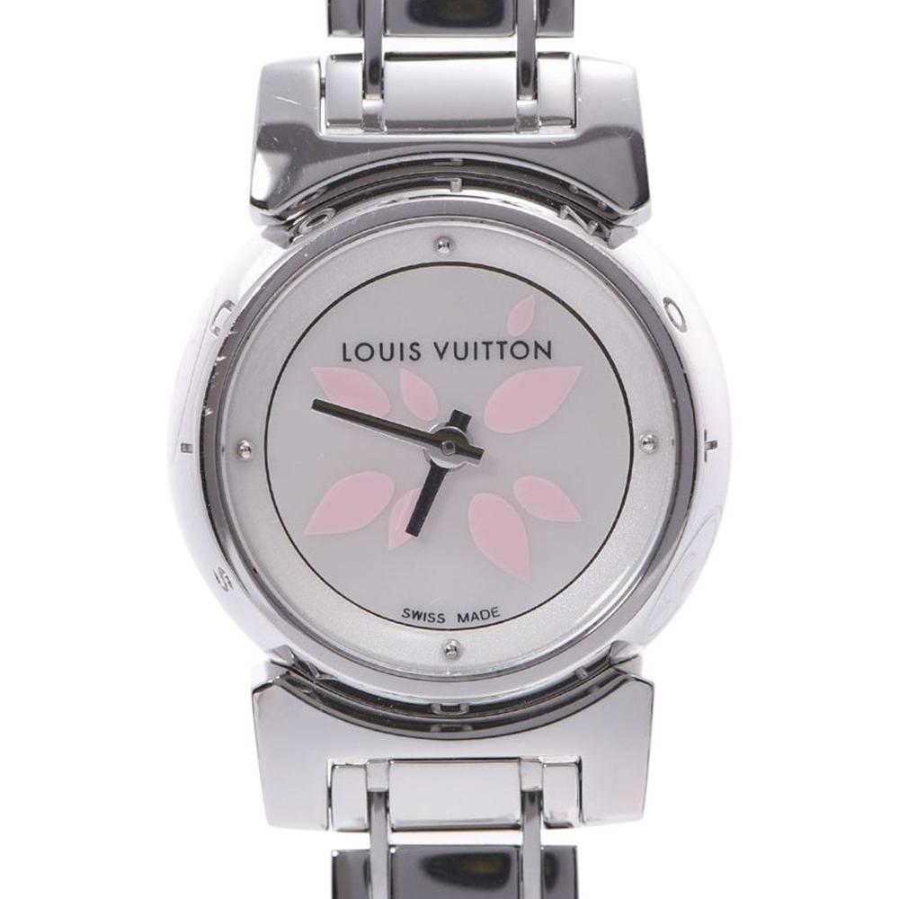 Pre-owned Louis Vuitton Mop Stainless Steel Tambour Bijou Petal Q1512 Quartz Women's Wristwatch 18 Mm In White