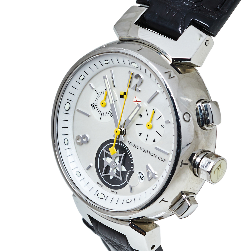 Louis Vuitton White Stainless Steel Tambour Chrono Lovely Cup Q132C Women's Wristwatch 34 MM  - buy with discount