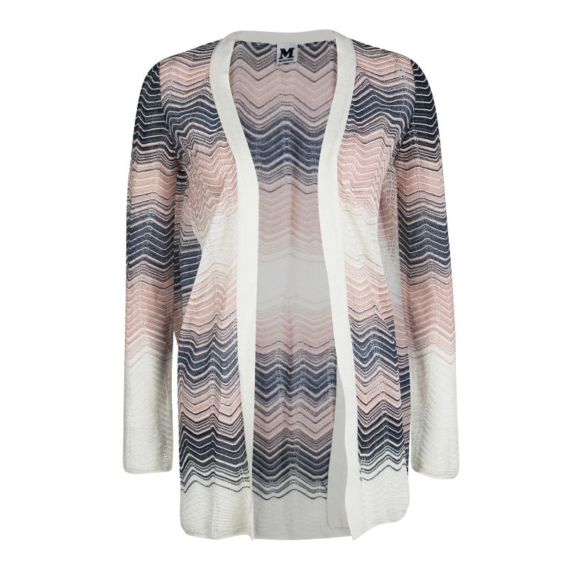 3e7a85c84bb0 Buy M Missoni Multicolor Perforated Wave Pattern Knit Open Front ...