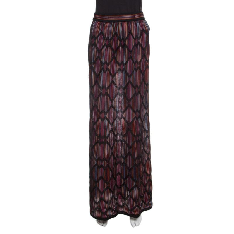 84ed77df15c1 Buy M Missoni Multicolor Striped Knit Chevron Pattern Maxi Skirt M ...
