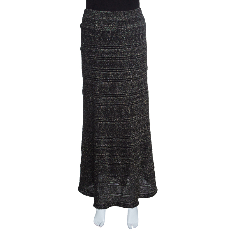 f3ead02511ea44 ... M Missoni Black Lurex Jacquard Knit Patterned Maxi Skirt M. nextprev.  prevnext
