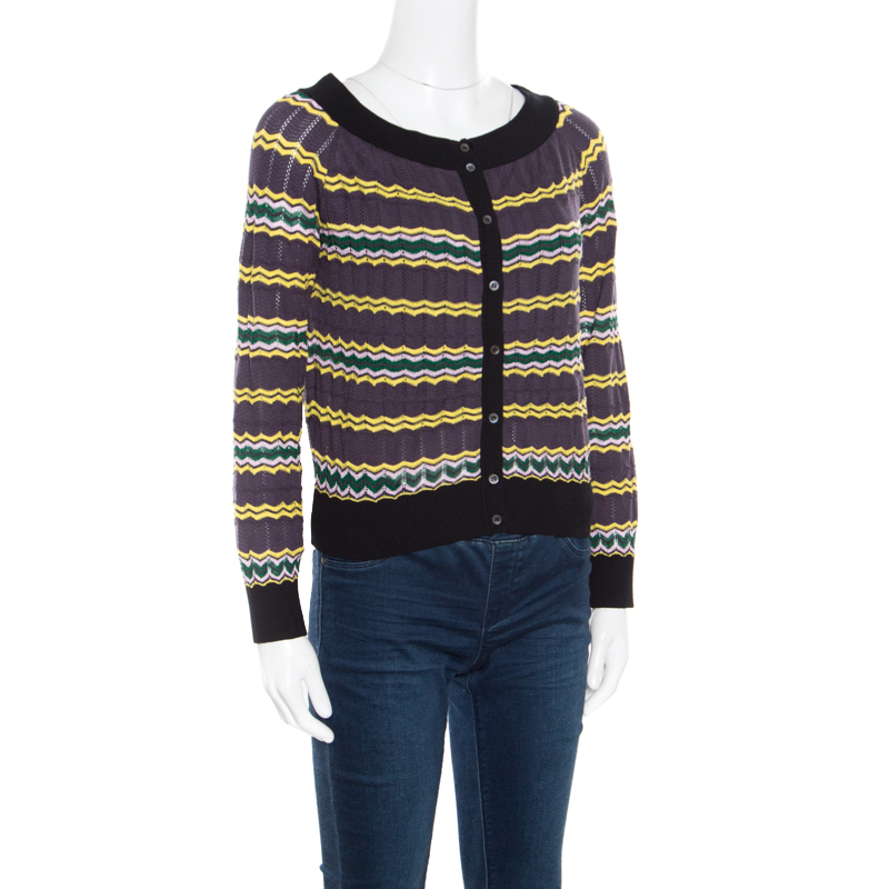 Купить со скидкой M Missoni Multicolor Perforated Knit Contrast Trim Detail Boat Neck Cropped Cardigan M