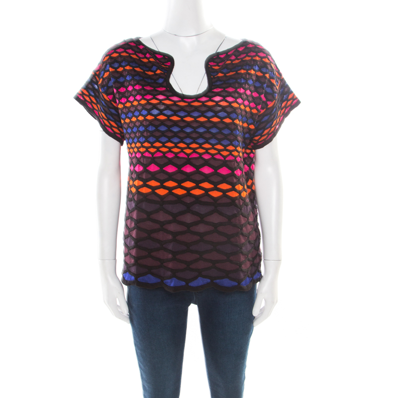 M Missoni Multicolor Fishscale Pattern Textured Knit Short Sleeve Top M