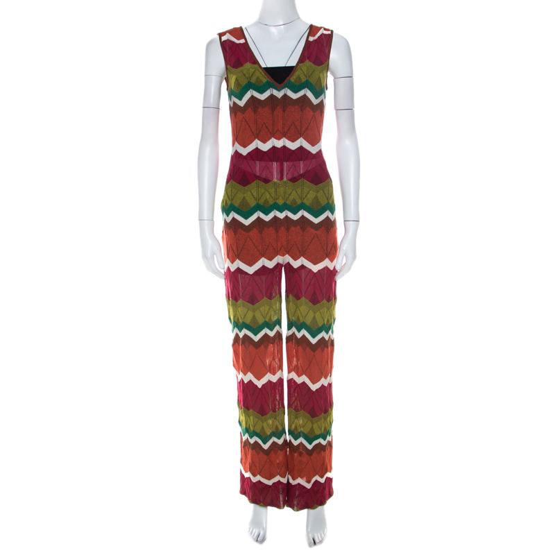 M Missoni Multicolor Zig Zag Pattern Knit Sleeveless Jumpsuit S