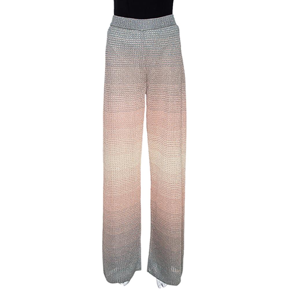 M Missoni Pink & Grey Lurex Knit Ombre Effect Wide Leg Pants M