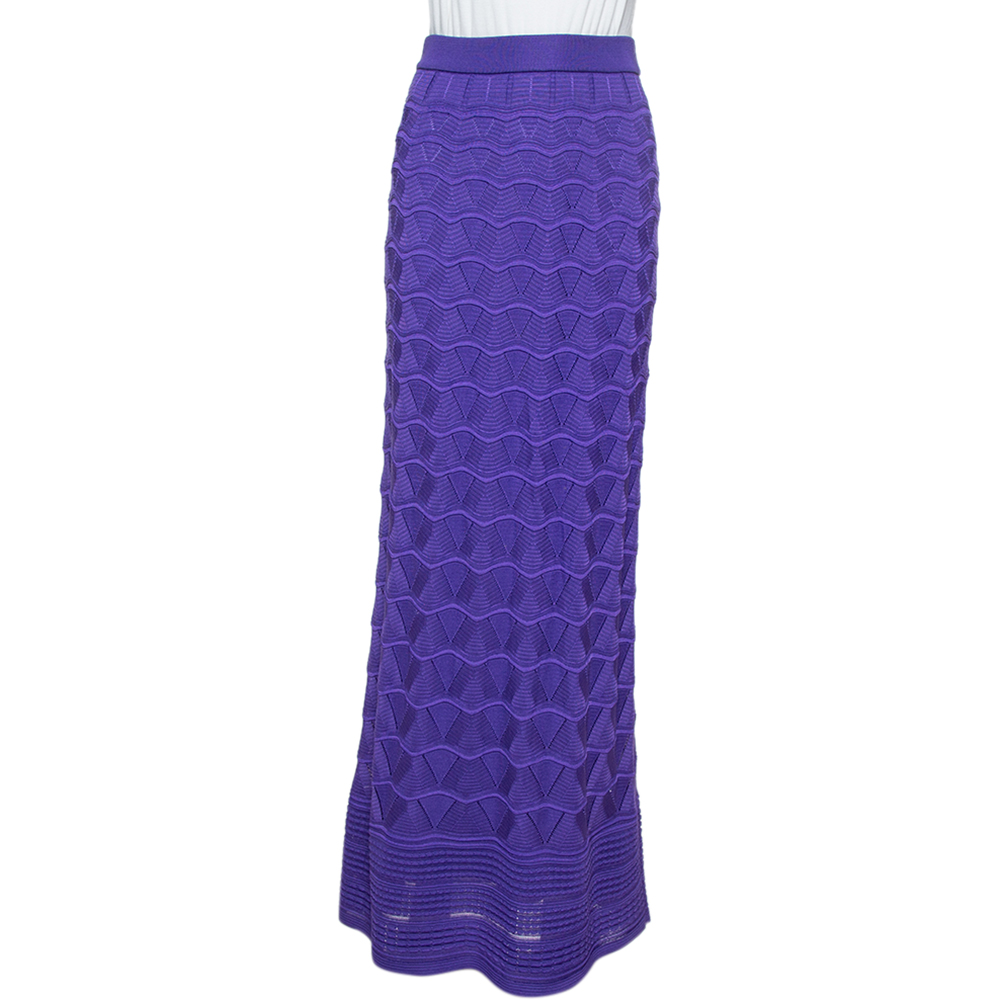 Pre-owned M Missoni Purple Chevron Pointelle Knit Maxi Skirt S