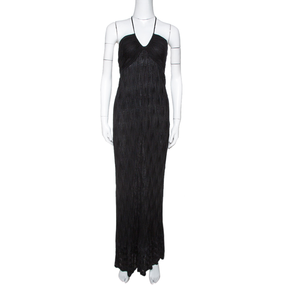 Pre-owned M Missoni Black Chevron Knit Halter Dress M