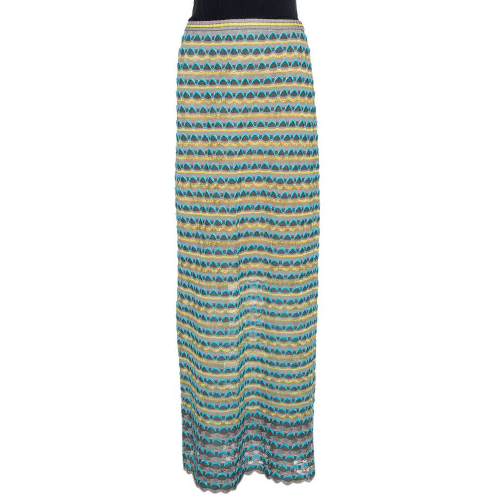 Pre-owned M Missoni Grey Scalloped Textured Knit Maxi Skirt S