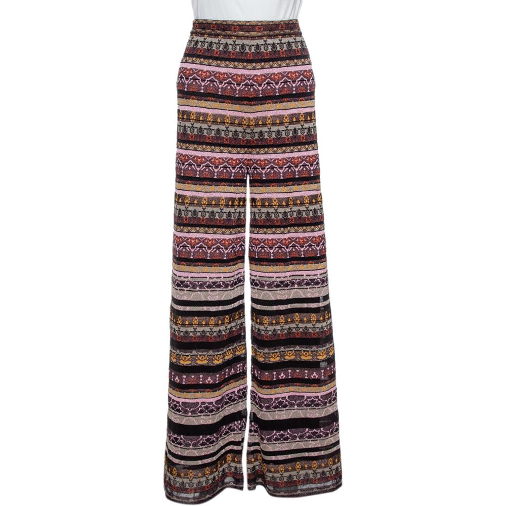 Pre-owned M Missoni Multicolor Lurex Knit Wide Leg Trousers L
