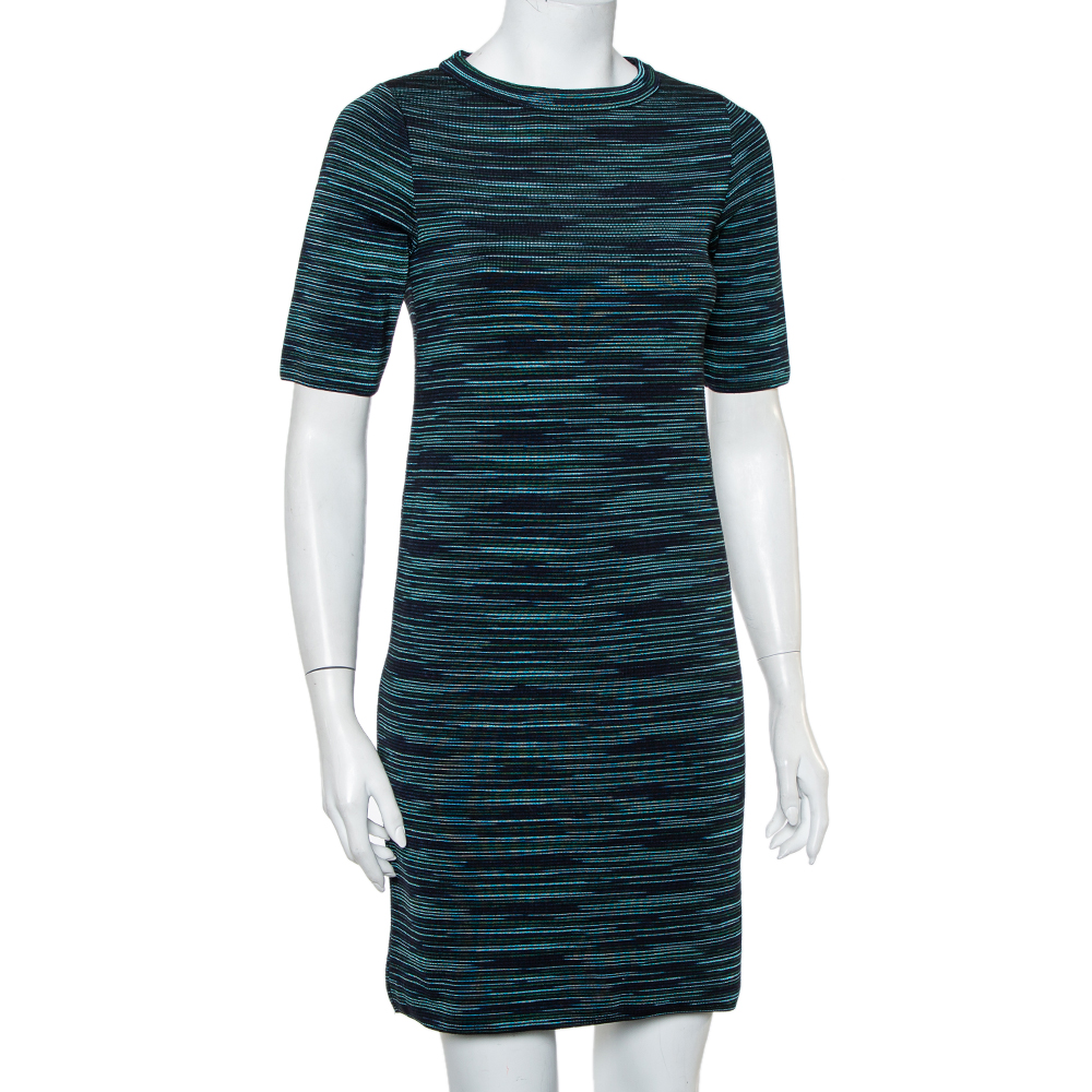 M Missoni Black Striped Wool T-Shirt Dress S  - buy with discount