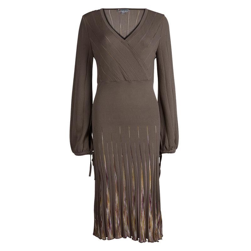 7ddb67295c2 Buy M Missoni Brown Wool Long Sleeve Sweater Dress L 79935 at best price