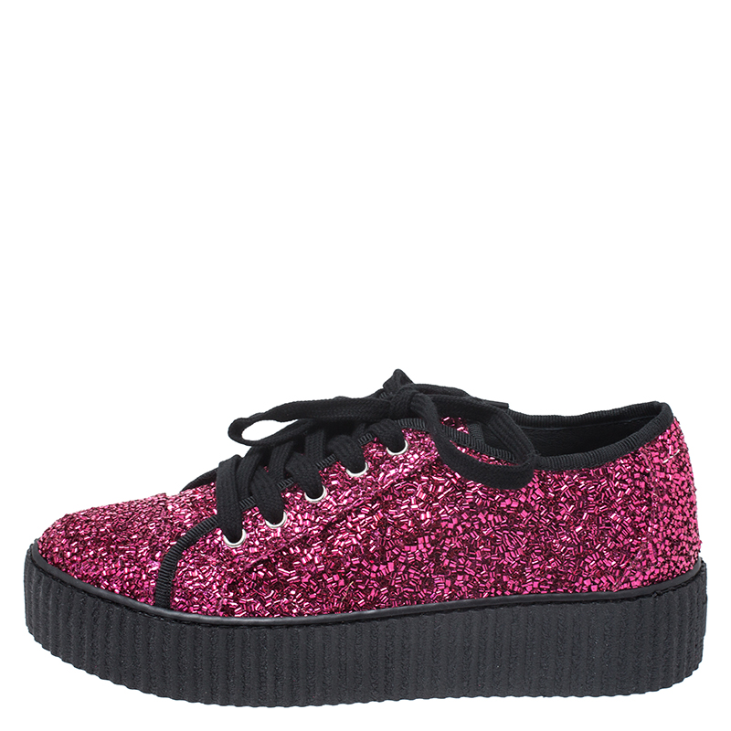 MM6 Maison Margiela Pink Glitter Fabric Bead Embellished Platform Low Top Sneakers Size