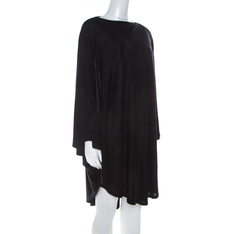 MM6 Maison Margiela Black Marled Linen Blend Oversized Dress