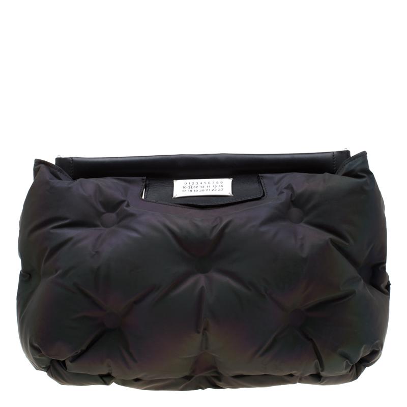Maison Martin Margiela Black Metallic Nylon Pillow Glam Clutch Bag