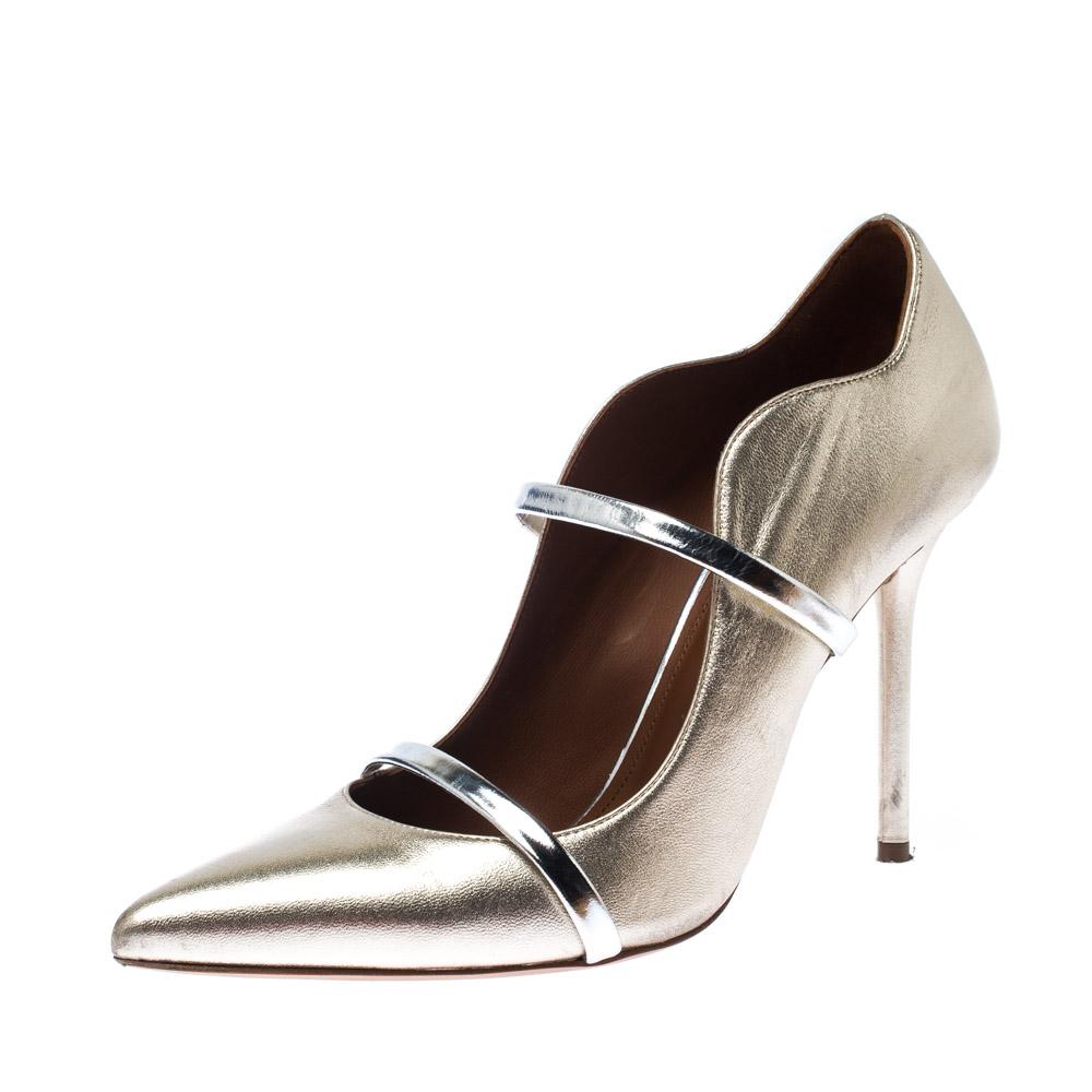 Malone Souliers Metallic Gold Leather Maureen Pumps Size 40.5