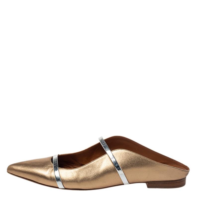 Malone Souliers Metalic Gold Leather Maureen Flat Mule Size 41