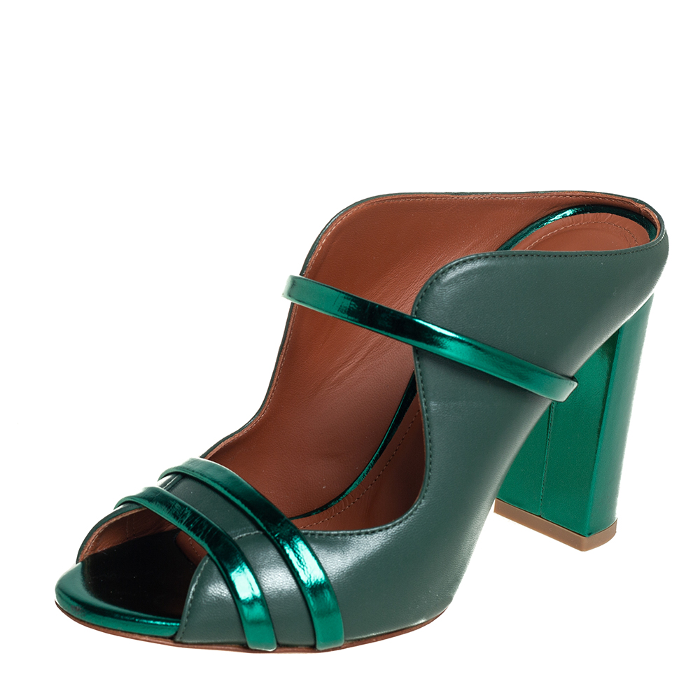 Pre-owned Malone Souliers Green Leather Norah Mules Size 37.5