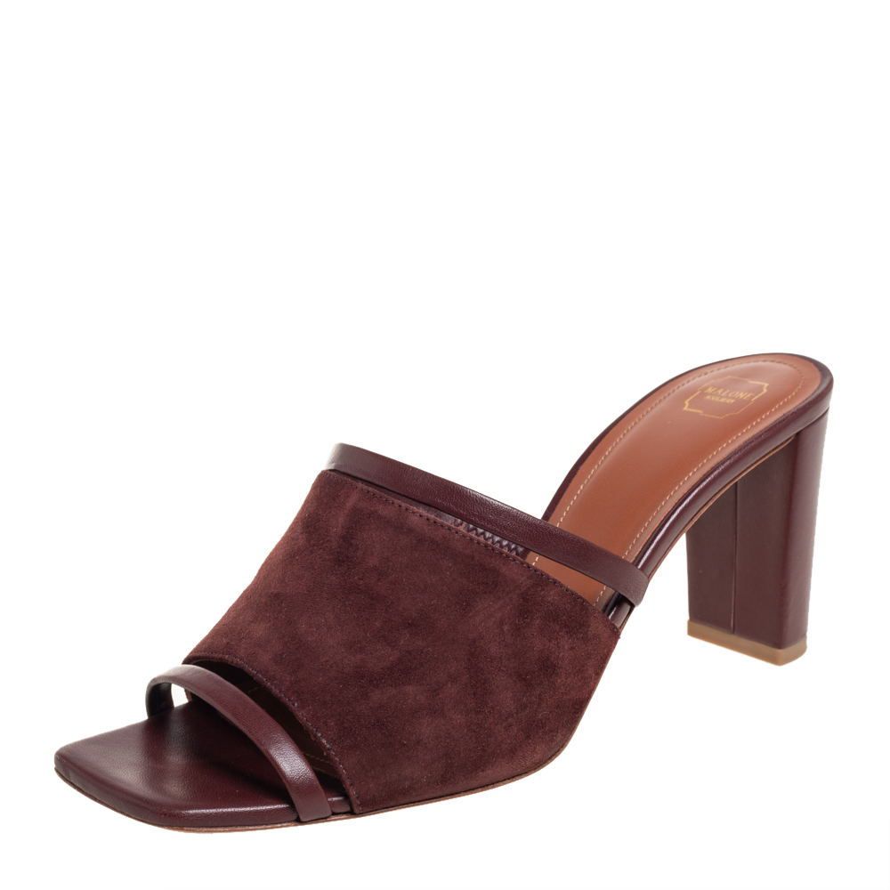 Pre-owned Malone Souliers Brown Leather And Suede Slide Sandals Size 38