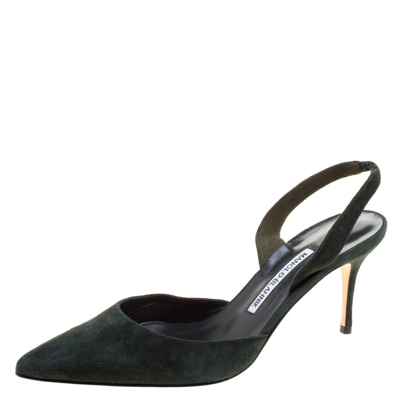 c84ad3441dc99 ... Manolo Blahnik Moss Green Suede Carolyne Pointed Toe Slingback Sandals  Size 39. nextprev. prevnext