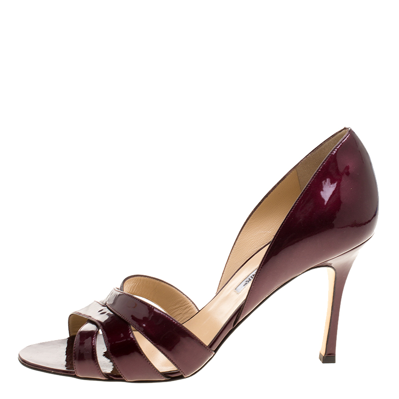 23858ba933bf2 Buy Manolo Blahnik Burgundy Patent Leather Cross Strap D'orsay ...