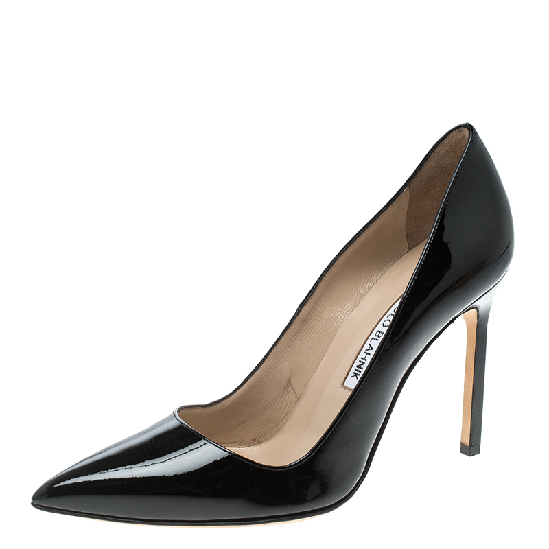 b029a6569ea2 ... Manolo Blahnik Black Patent Leather BB Pointed Toe Pumps Size 36.  nextprev. prevnext