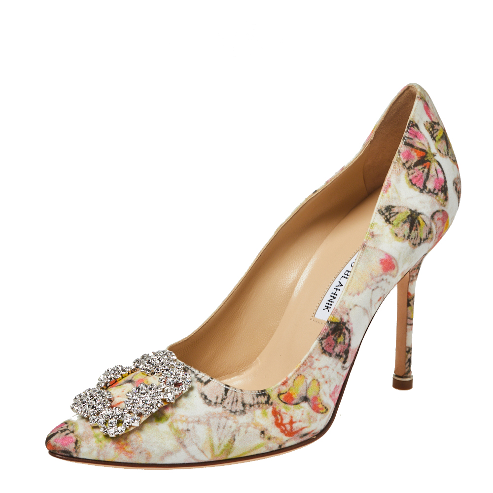 Manolo Blahnik Multicolor Butterfly Print Fabric Hangisi Pointed Toe Pumps Size 38.5