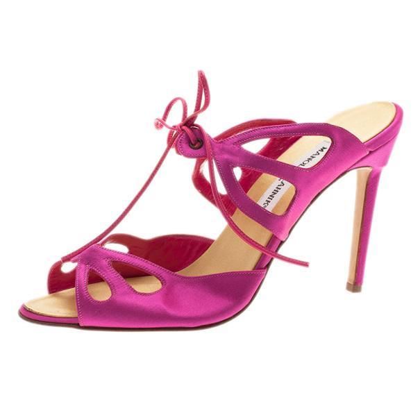 Manolo Blahnik Pink Satin Lace Up Slides Size 39.5