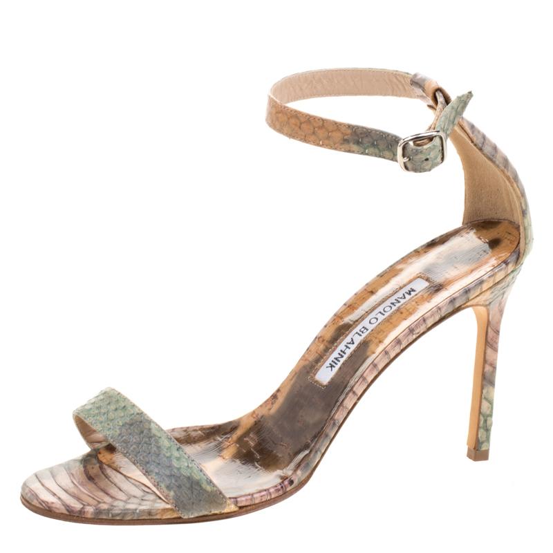 ce1538a42fad ... Manolo Blahnik Multicolor Python Leather Chaos Ankle Strap Sandals Size  37. nextprev. prevnext