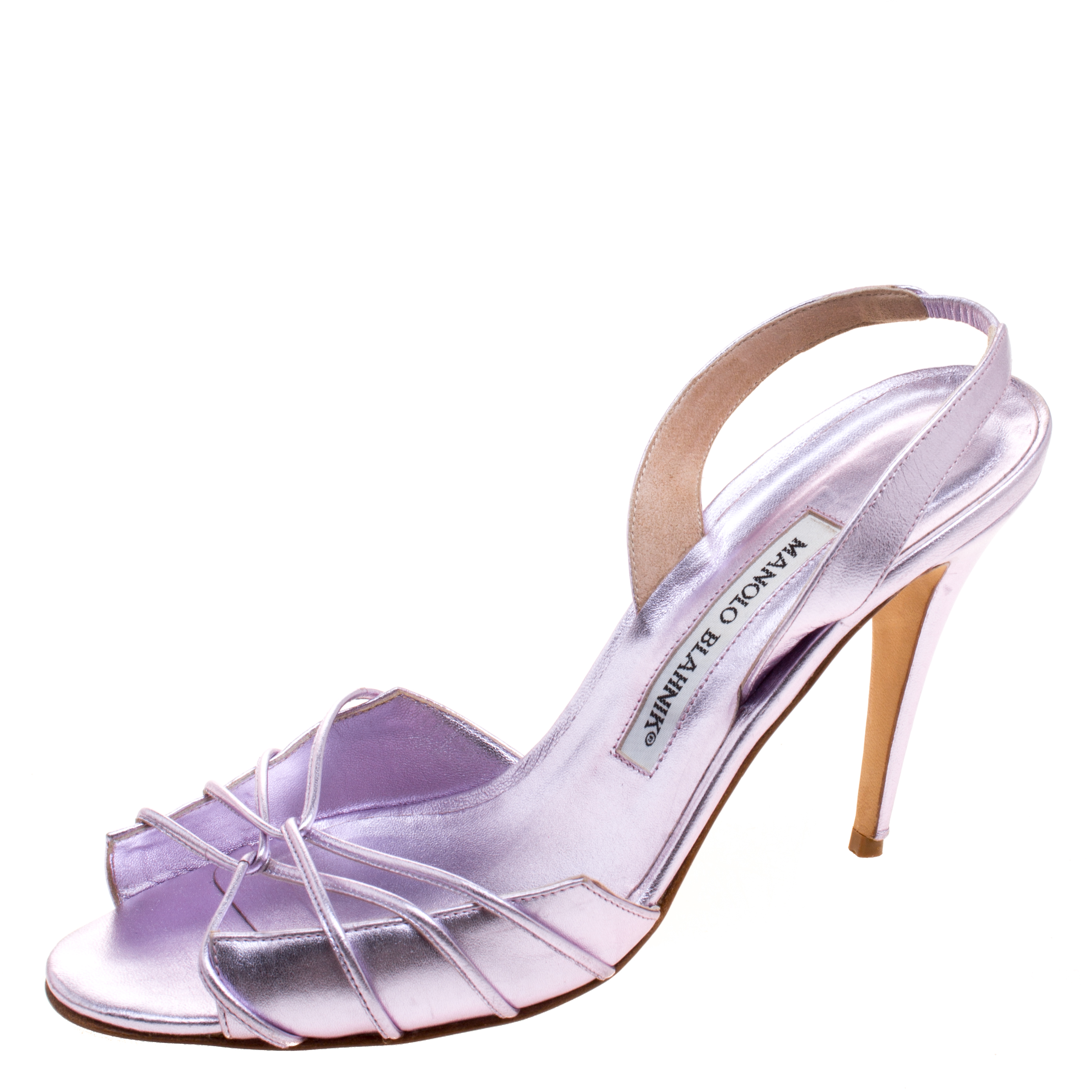 buy popular b488f d6ccd Buy Manolo Blahnik Metallic Purple Leather Open Toe Slingback ...