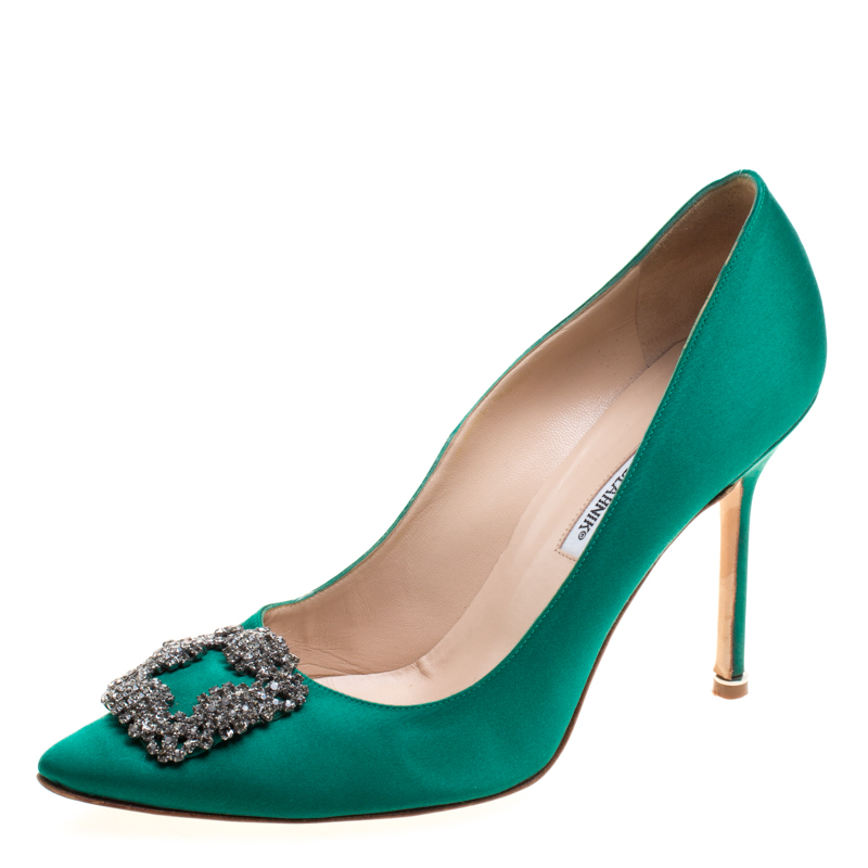 buy manolo blahnik green satin hangisi embellished pumps size 41 rh theluxurycloset com