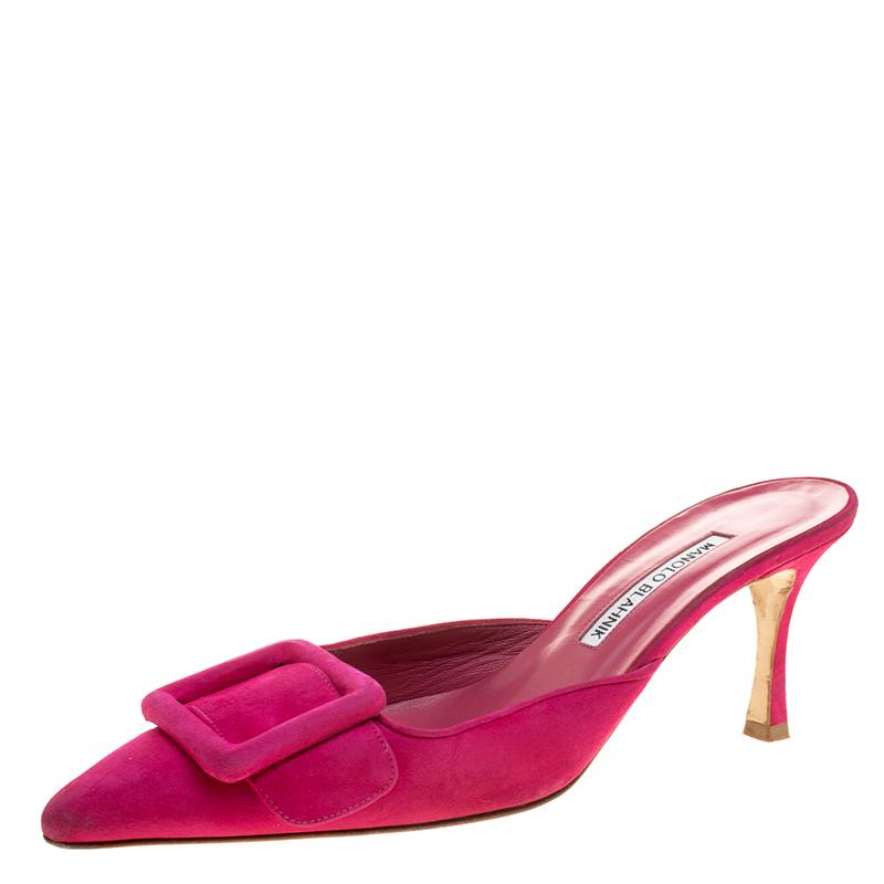21c470ca8b6b6 ... Manolo Blahnik Fuchsia Pink Suede Maysale Pointed Toe Mules Size 39.5.  nextprev. prevnext
