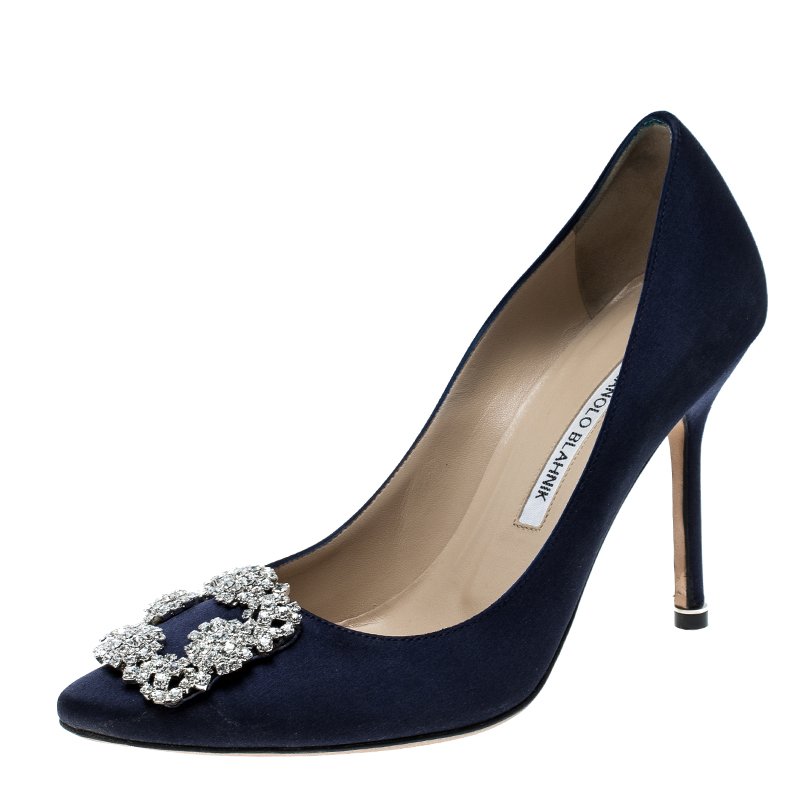 e8b959676c8 ... Manolo Blahnik Navy Blue Satin Hangisi Crystal Embellished Pumps Size  38.5. nextprev. prevnext