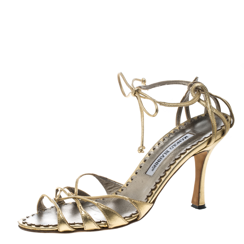 475b3345f3ddb2 Buy Manolo Blahnik Metallic Gold Leather Strappy Ankle Wrap Sandals ...