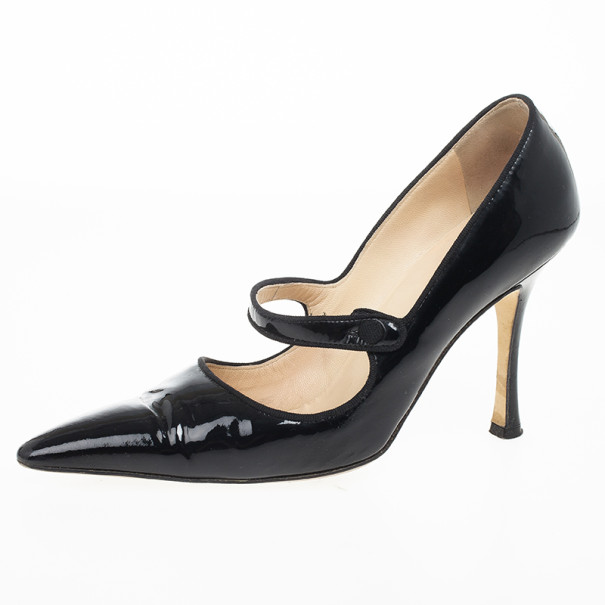 Buy Manolo Blahnik Black Patent Campari Mary Jane Pumps Size 38 ... 017c6c0ca