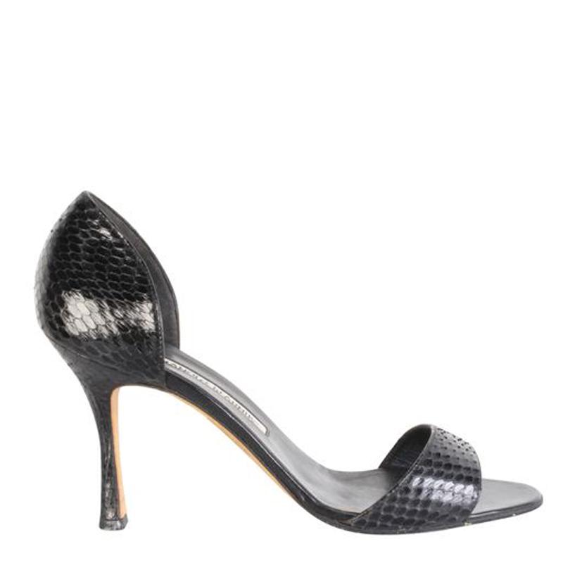 Manolo Blahnik Black Snakeskin Sandals Size 38.5