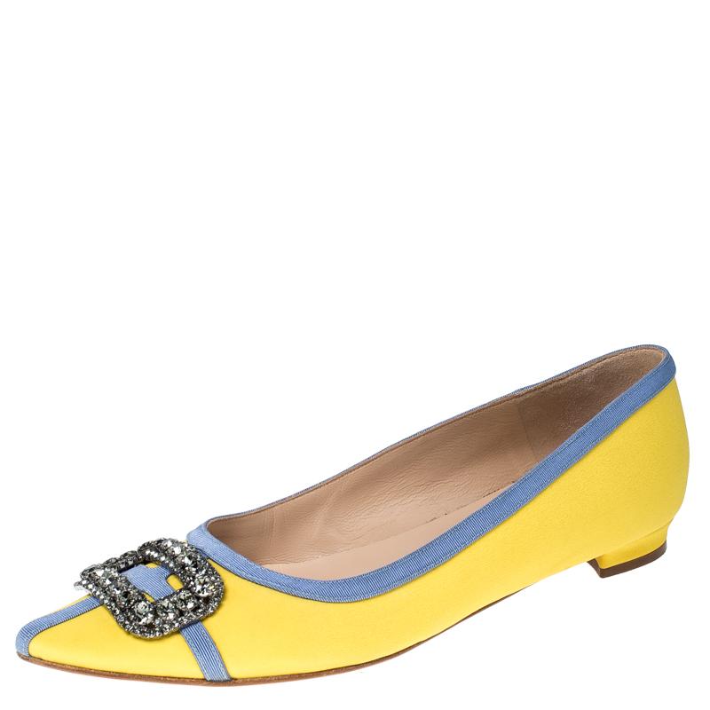 Manolo Blahnik Yellow Satin Gotrian Crystal Embellished Pointed Toe Flats Size 39