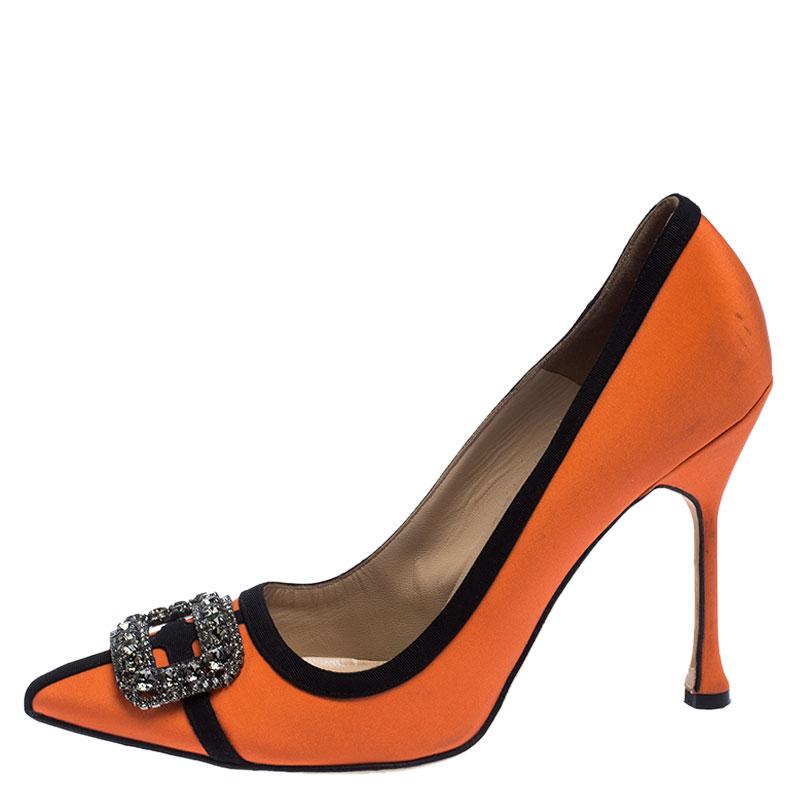 Manolo Blahnik Orange/Black Satin