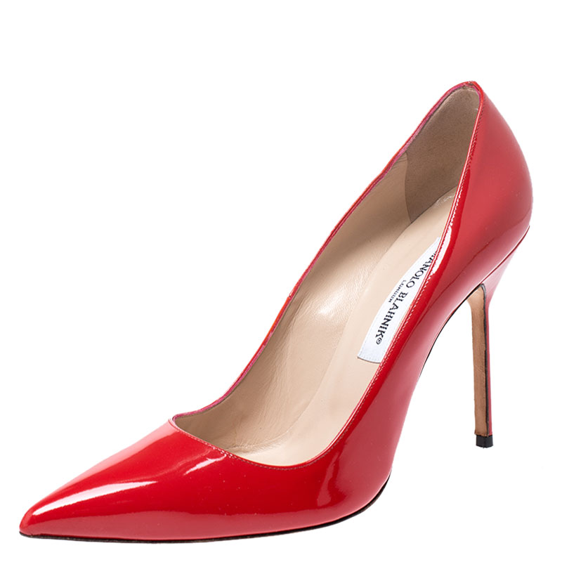 Manolo Blahnik Red Patent Leather Bb Pointed Toe Pumps Size 41