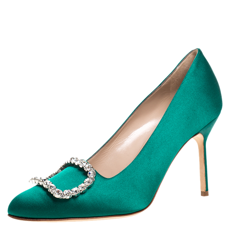 Manolo Blahnik Green Crystal Embellished Satin Olek Pumps Size 37