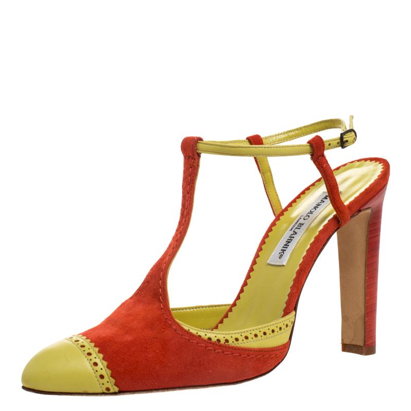 Manolo Blahnik Yellow/orange Brogue Detail T-bar Ankle Strap Sandals Size 40