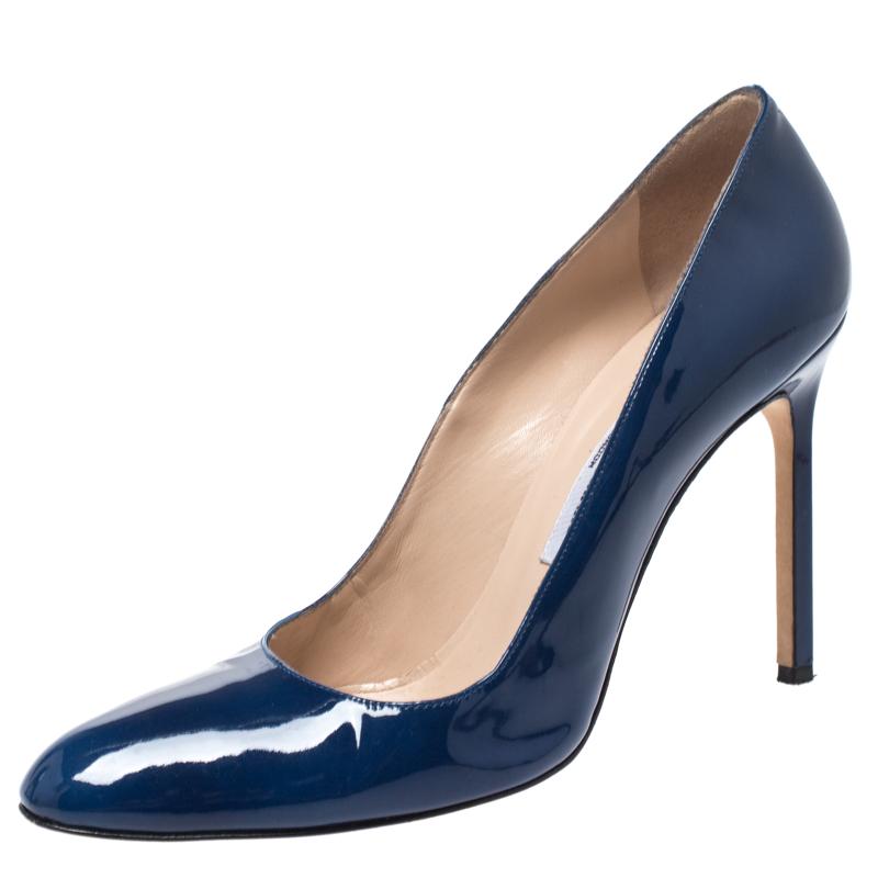 Manolo Blahnik Blue Patent Leather Bb Pumps Size 39