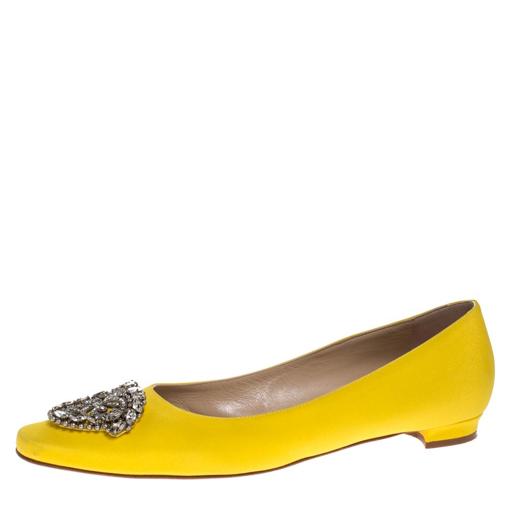 Manolo Blahnik Yellow Satin Crystal Embellished Ballet Flats Size 39.5