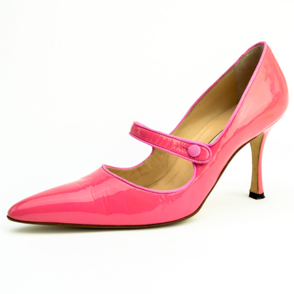 Buy Manolo Blahnik Pink Patent Pointed Toe  Campari  Mary Jane Pumps ... 49c6ccc62