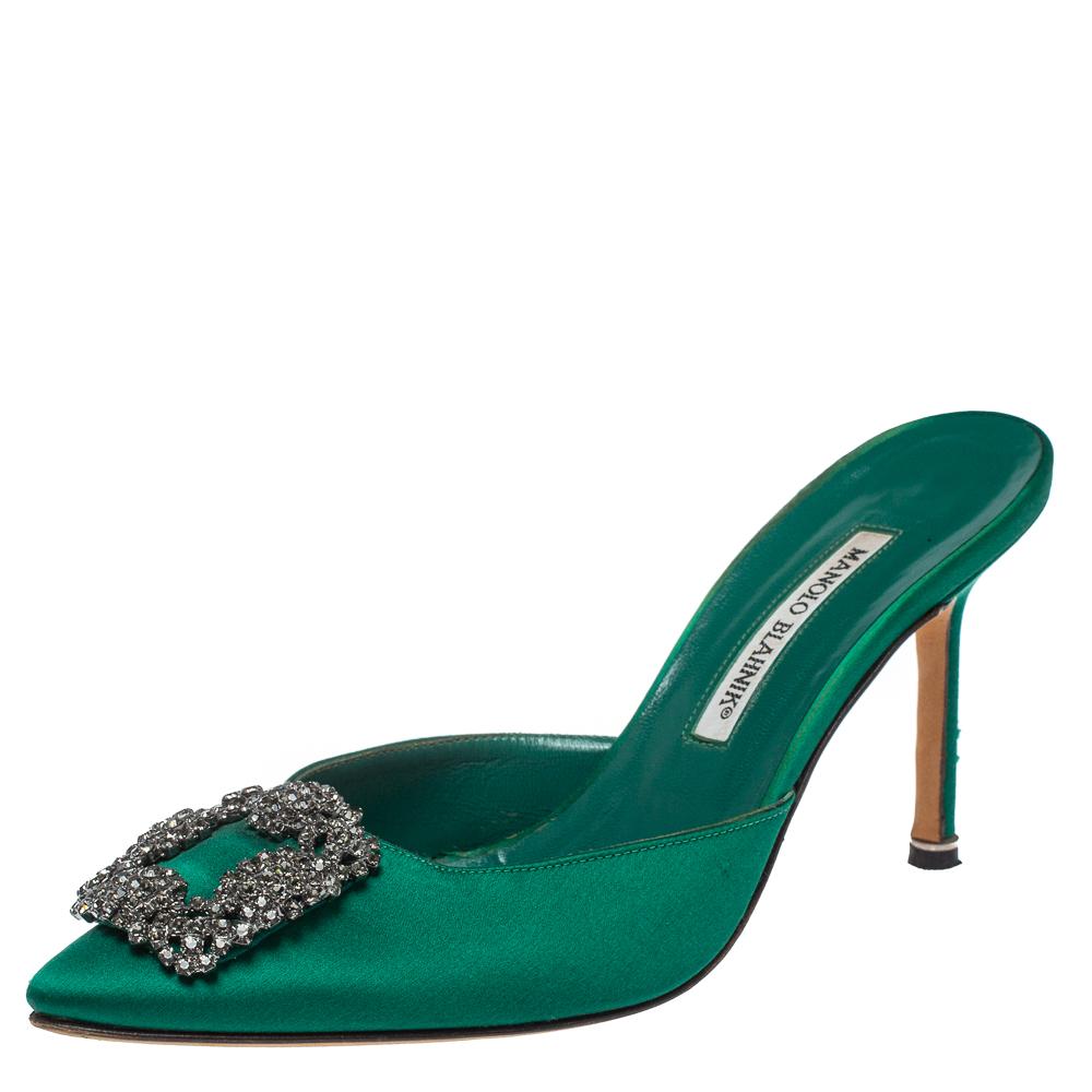 Pre-owned Manolo Blahnik Green Satin Hangisi Mules Sandal Size 39