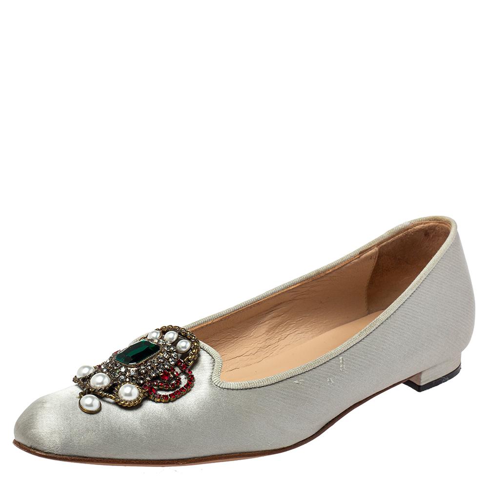 Pre-owned Manolo Blahnik Grey Satin Eufrasia Smoking Slippers Size 35