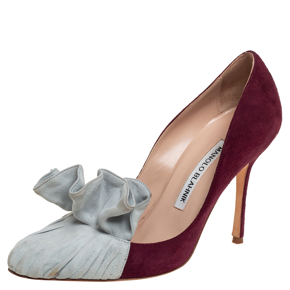 Pre-owned Manolo Blahnik Burgundy And Grey Suede Arleti Frill Detail Pumps Size 35