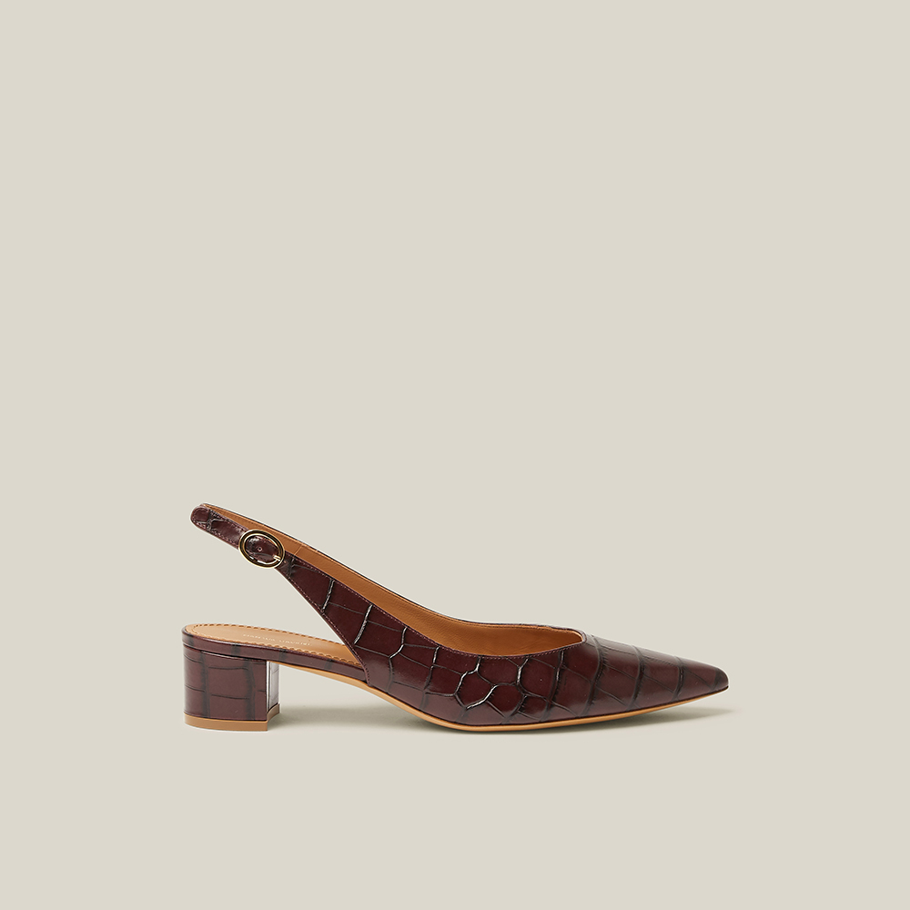 Mansur Gavriel Brown Croc-Effect Slingback Leather Pumps IT 40