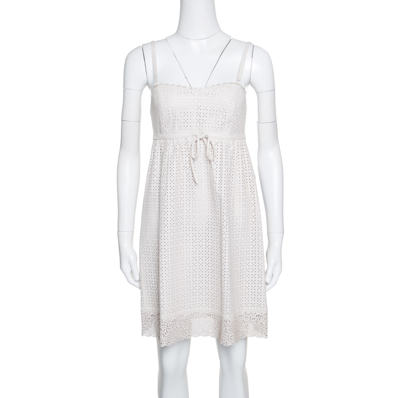 Купить со скидкой Marc by Marc Jacobs Beige Perforated Lambskin Leather Baby Doll Dress S
