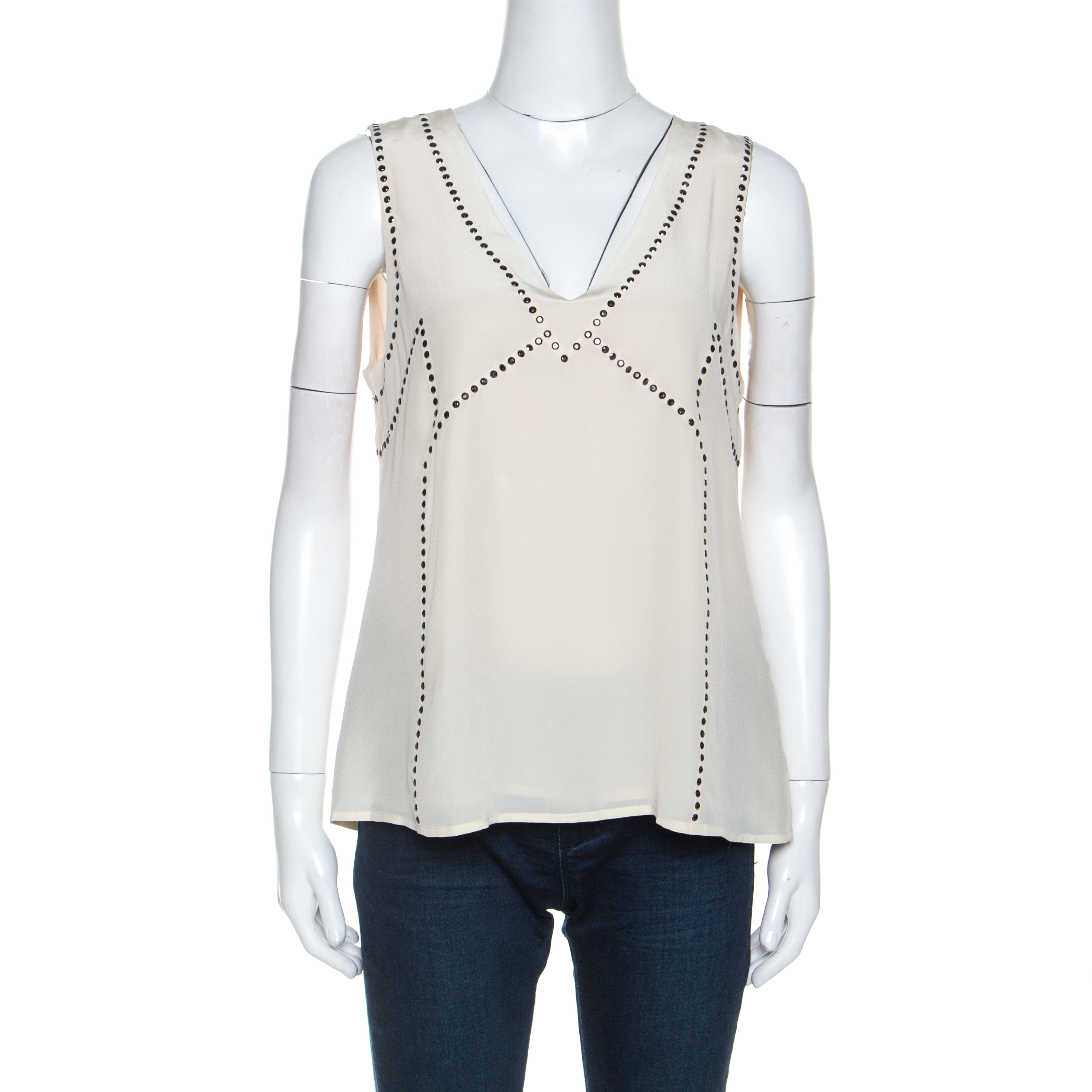 Marc By Marc Jacobs Cream Silk Embellished Frances Top M