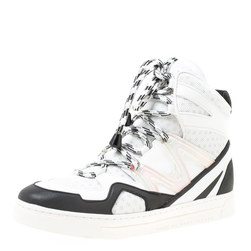 fantastiska besparingar pålitlig kvalitet bästa service Buy Marc by Marc Jacobs Monochrome Leather And Mesh High Top ...